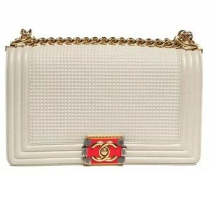 Auth CHANEL Embossed Medium Boy Cube Flap White
